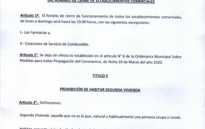 Ordenanza Cierre Comercio - Decreto 1388