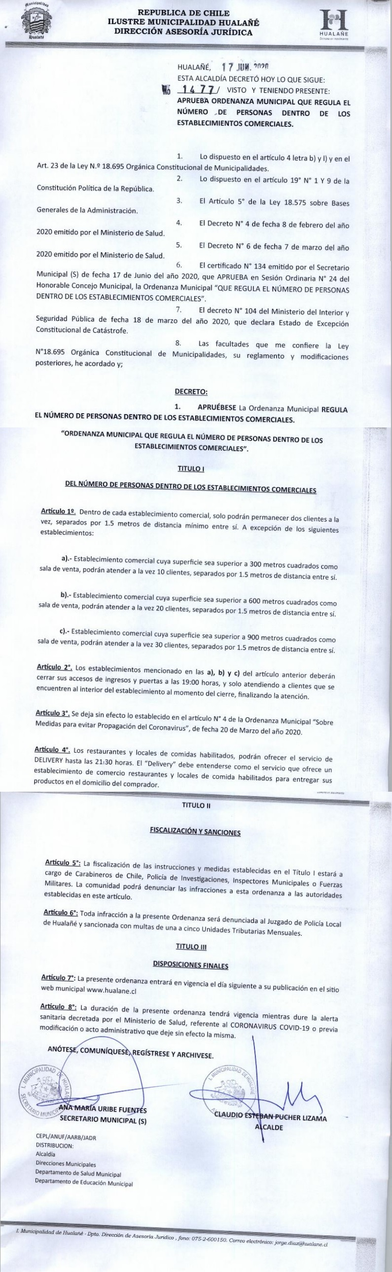 decreto 1477 ordenanza municipal que regula numero de persona
