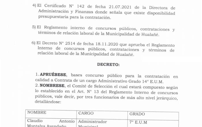Decreto 1750 - Aprueba Concurso Cargo Contrata Grado 14