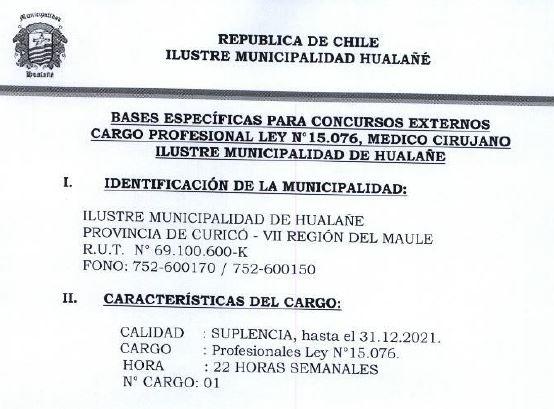 Concurso Suplencia Profesional Ley 15076